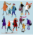 winter city people vector image