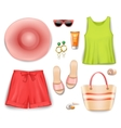 Women Beach Clothing Accessories Set vector image