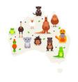 animals australia cute cartoon characters in vector image vector image