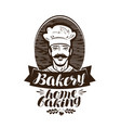 bakery bakehouse logo home baking label vintage vector image vector image