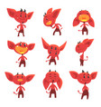 cartoon funny red devil characters with different vector image vector image