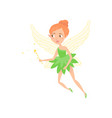 cartoon of fairy girl with magic wand vector image vector image