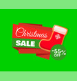 christmas sale label and red santa stocking 55 off vector image vector image
