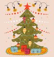 christmas tree with gift box card flat vector image
