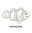 Coloring book clownfish fish cartoon vector image vector image