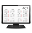 Computer with 2016 Calendar vector image