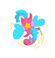 cute winged pink horse flying with a magic wand vector image vector image