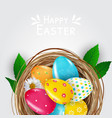 easter poster template with 3d realistic eggs in vector image