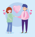 family pregnant woman and man love hearts romantic vector image vector image