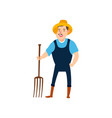 farmer with pitchforks ready to harvest flat vector image vector image