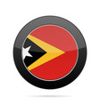 flag of east timor shiny black round button vector image vector image