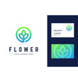 flower logo and business card template vector image