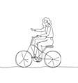 girl riding a bicycle - one continuous line design vector image vector image