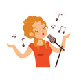 girl singing with microphone singer character vector image vector image