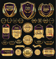 golden shields laurel wreaths and badges vector image vector image