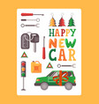 happy new car typography poster vector image
