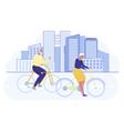 happy senior couple relaxing walking with bike vector image vector image