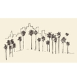 Los Angeles California Skyline Engraved Sketch vector image vector image