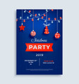 merry christmas party layout poster template with vector image