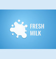 milk logo with white splash of milk emblem vector image vector image