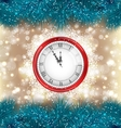 New Year Midnight Background with Clock and Fir vector image vector image