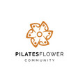 pilates flower community with human shapes logo vector image