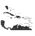 political map of carribean gray lands on white vector image vector image