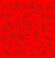 red seamless christmas pattern with knitted wear vector image