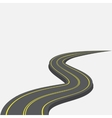 Road with yellow markings receding into the vector image vector image