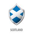 scotland flag on metal shiny shield vector image