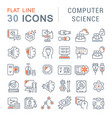 set line icons computer science vector image