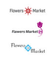 set logo flowers market 24 vector image