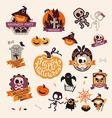 set retro vintage happy halloween badges vector image