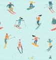 skiers and snowboarders vector image vector image