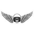 skull helmet wings vintage motorcycle logo vector image