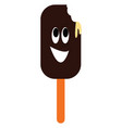 smiling brown ice lolly with bite mark on white vector image