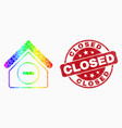 spectral dotted forbidden house icon and vector image vector image
