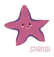starfish with face childish book cartoon character vector image