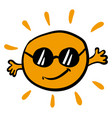sun with sun glasses on white background vector image vector image