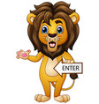 the arrow sign with a lion gesturing vector image vector image