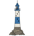 the old blue lighthouse vector image vector image