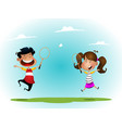 two girls playing badminton outdoor vector image