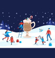 winter warming cocoa mug happy people winter vector image vector image