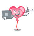 with laptop ballon heart character cartoon vector image