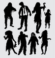 zombie male and female action silhouette vector image vector image