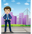 A handsome businessman standing at the pedestrian vector image vector image
