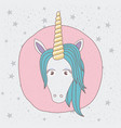 background starry with front face of unicorn in vector image