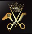 beauty golden symbol scissors comb hair dryer