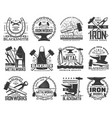 blacksmith metal or iron work rool icons vector image