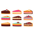 cake slices sweet sliced birthday pie cheesecake vector image vector image
